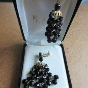 Antique West German Black Bead Dangle Screw Back